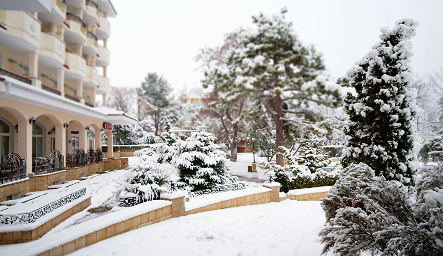 "Snow on the territory of the resort complex ""Alye Parusa"""