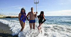 Любители зимнего плавания